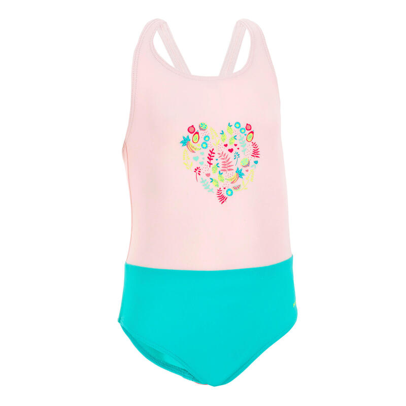 Baby Girls' One-Piece Swimsuit - Pink and Green
