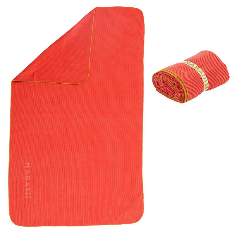 Serviette de bain microfibre à rayures orange foncé taille L 80 x 130 cm