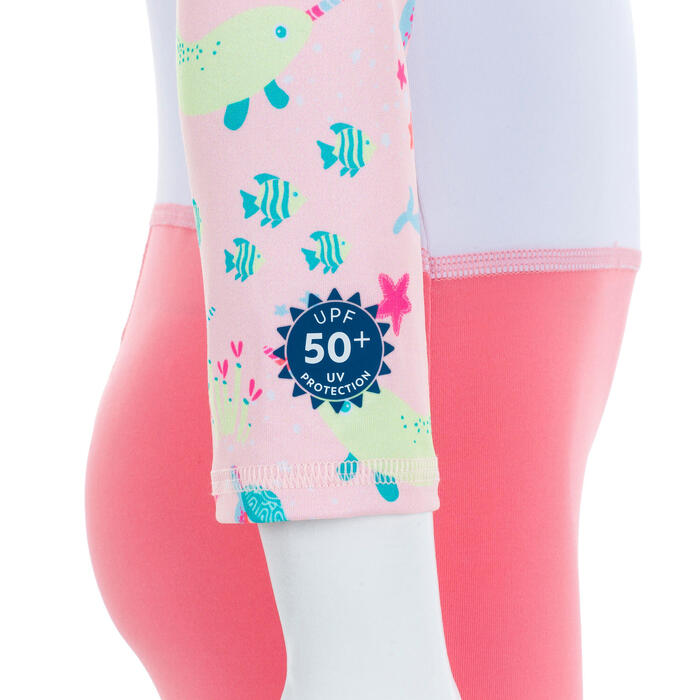 Fato de Natação Anti-UV Bebé Mangas compridas Estampado Rosa