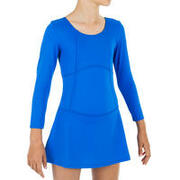 Girls' one-piece swimsuit Audrey sleeves - Blue