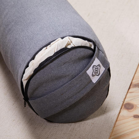 Cotton Yoga Bolster/Cushion - Mottled Grey