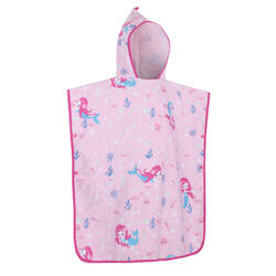 兒童款衝浪毛巾衣500(110到135 cm)-人魚款