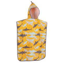 兒童款衝浪毛巾衣500(110到135 cm)-鯊魚款