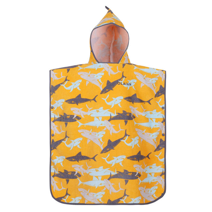 KIDS' SURFING PONCHO 500 (110 to 135 cm) Shark