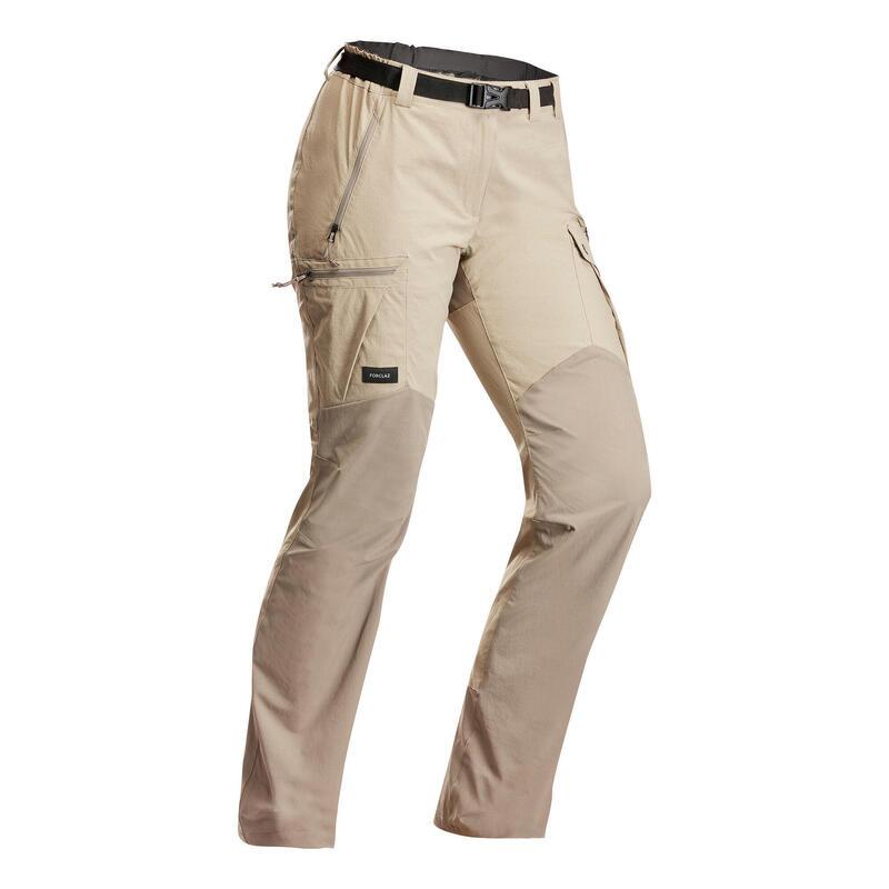 Stevige broek voor bergtrekking dames Trek 500 beige v2