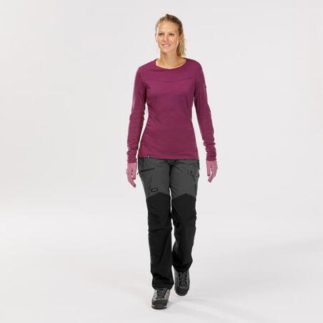 Women's Mountain Trekking Durable Trousers Trek 500 - Dark Grey v2