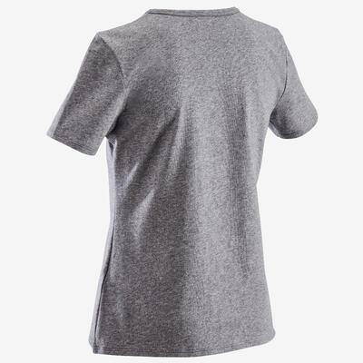 Girls' Short-Sleeved Gym T-Shirt 100 - Dark Grey/Print