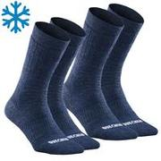 Adult Mid-height Warm Hiking Socks - SH100 X-WARM - 2 Pairs.