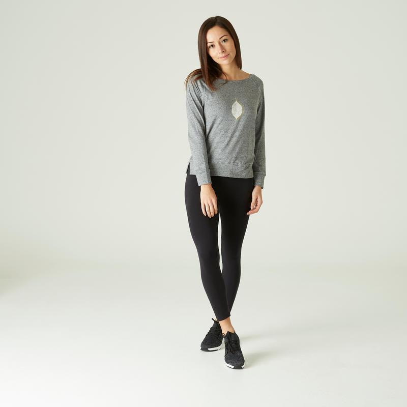 T-Shirt Manches Longues 500 Femme Gris avec Imprimé