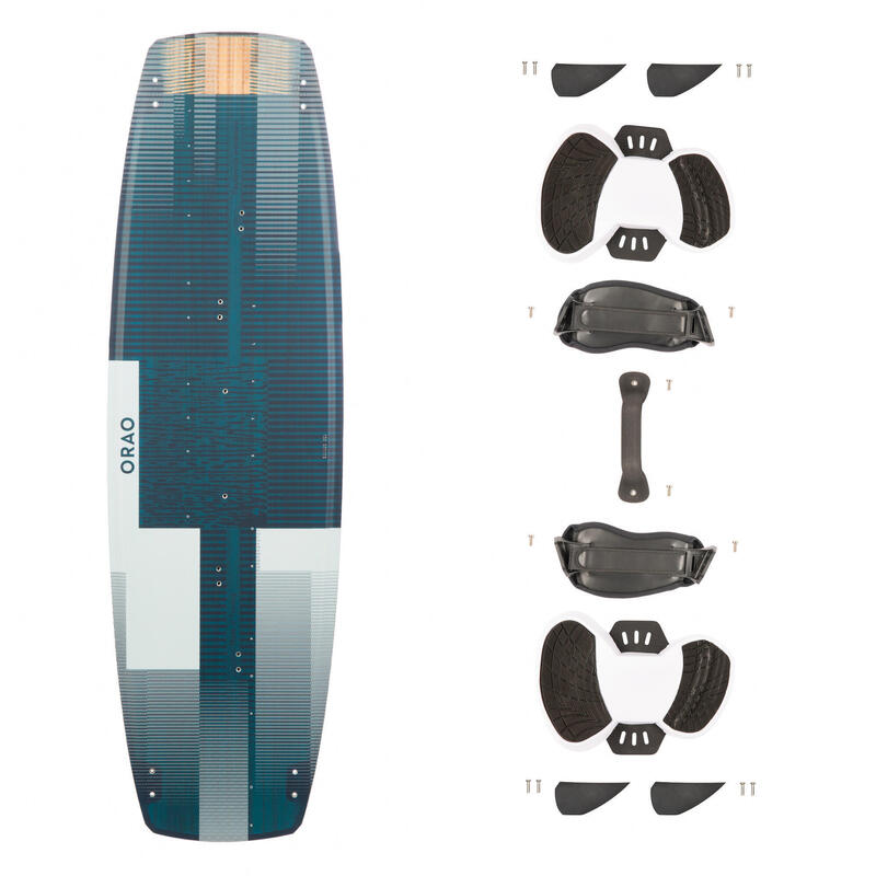 Twintip kiteboard 500 carbon 136 X 40,5 cm (inclusief pads en straps)