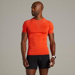 男款透氣跑步 T 恤- 紅色
