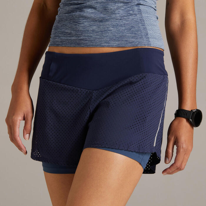 KIPRUN 2-IN-1 WOMEN'S RUNNING SHORTS WITH BUILT-IN TIGHT SHORTS - BLUE/GREY