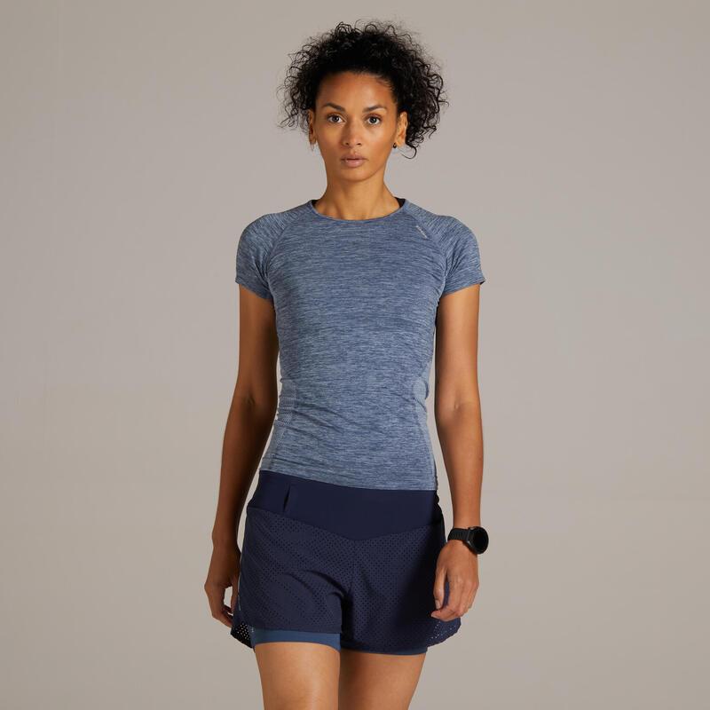 KIPRUN 2-IN-1 WOMEN'S RUNNING SHORTS WITH BUILT-IN TIGHT SHORTS - BLUE/GREY