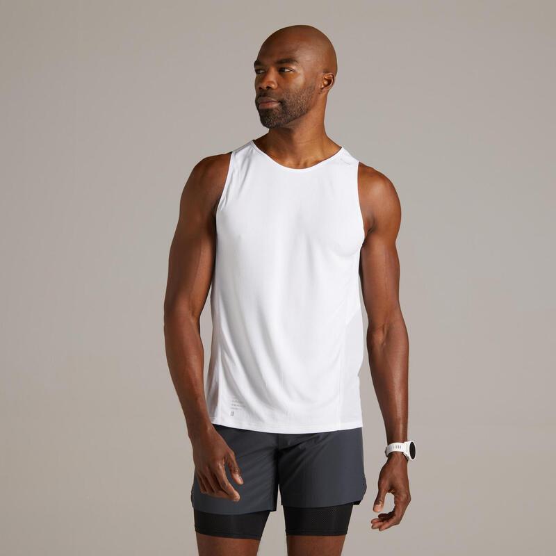 Ademend mouwloos hardloopshirt voor heren Light wit limited edition
