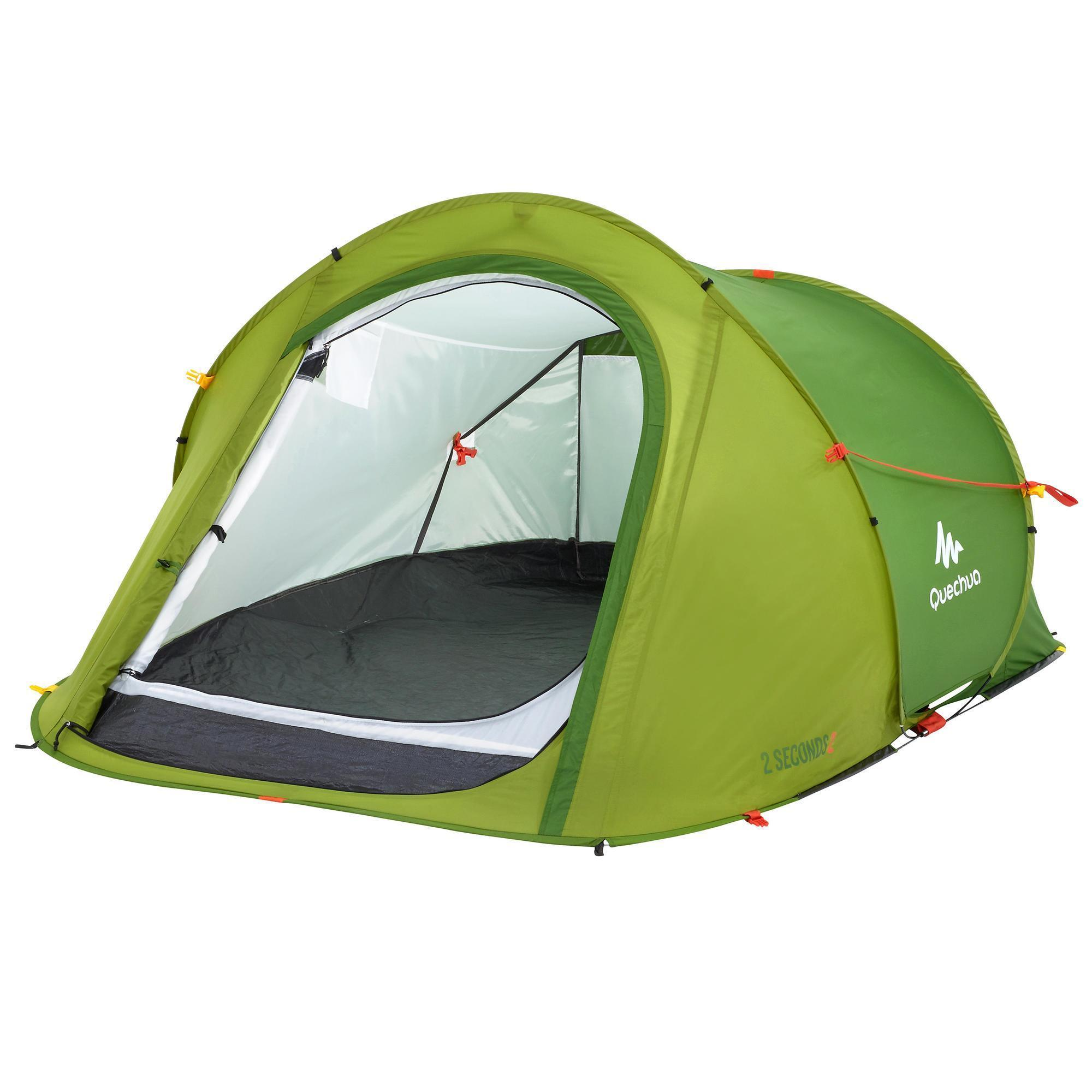 tente de camping 2 seconds 2 personnes vert quechua. Black Bedroom Furniture Sets. Home Design Ideas