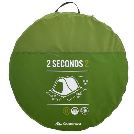 2 Seconds Camping Tent 2 Person Green Quechua