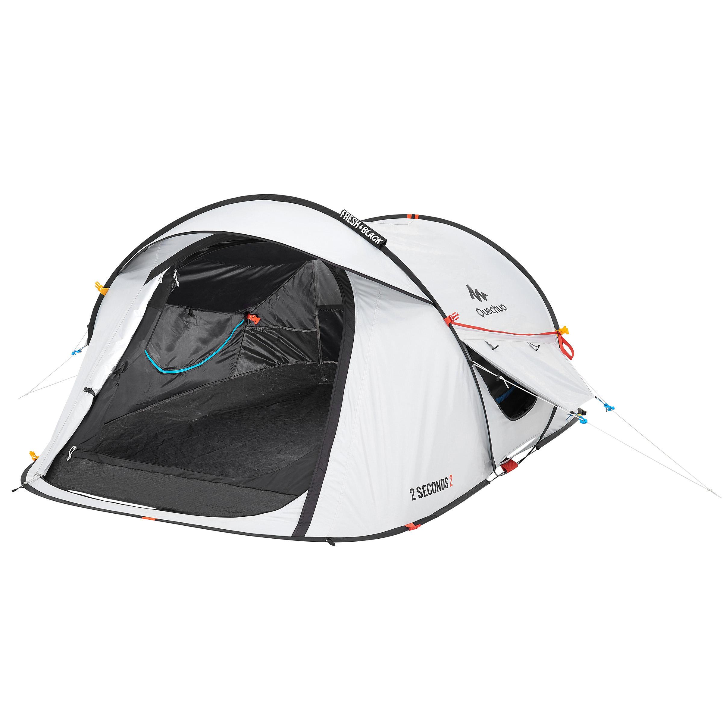 Tente de camping 2 SECONDS 2 FRESH&BLACK _PIPE_ 2 personnes blanche