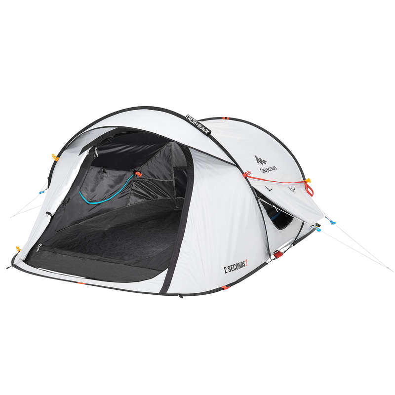 TOURING CAMP TENTS, TARPS Camping - 2 Seconds Easy II Fresh&Black Pop Up Tent - 2 Man QUECHUA - Tents