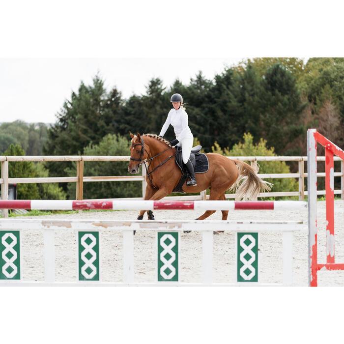 Polo concours d'équitation femme à manches longues et chaud 500 COMP blanc