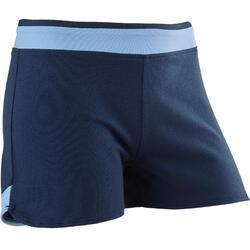 Ademende short voor gym meisjes 500 katoen blauw/print