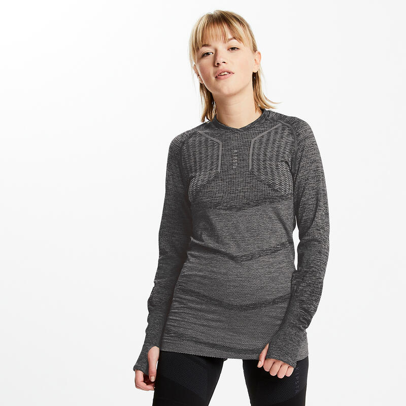 Adult Long-Sleeved Football Base Layer Top Keepdry 500 - Mottled Grey
