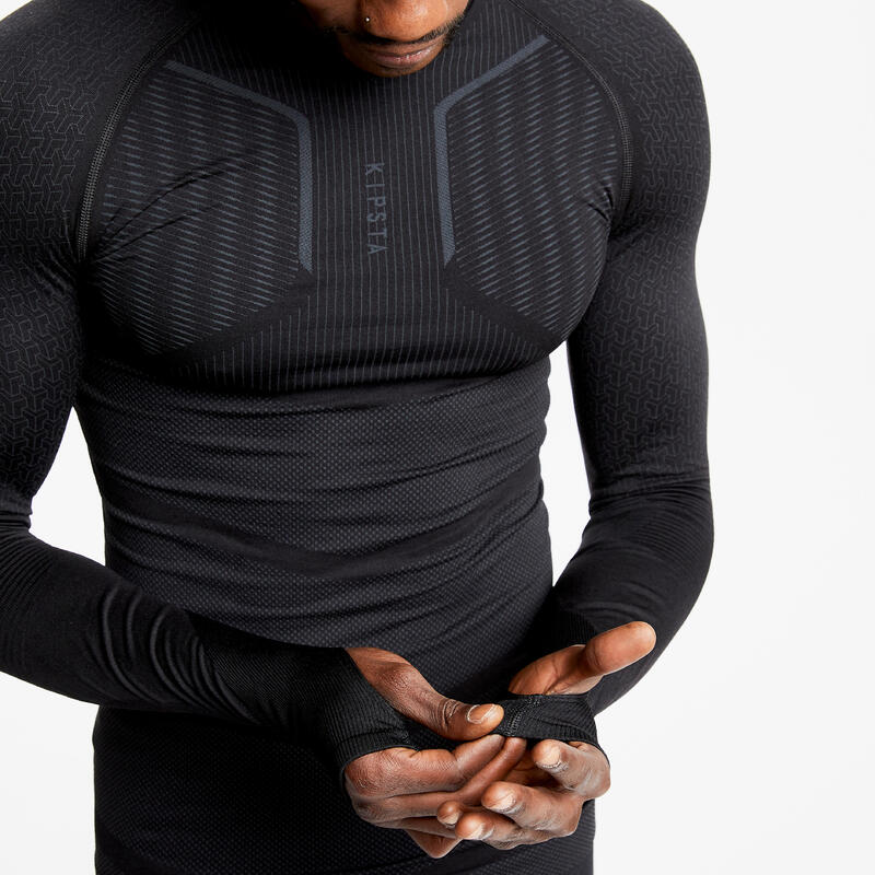 Adult Long-Sleeved Football Base Layer Top Keepdry 500 - Black