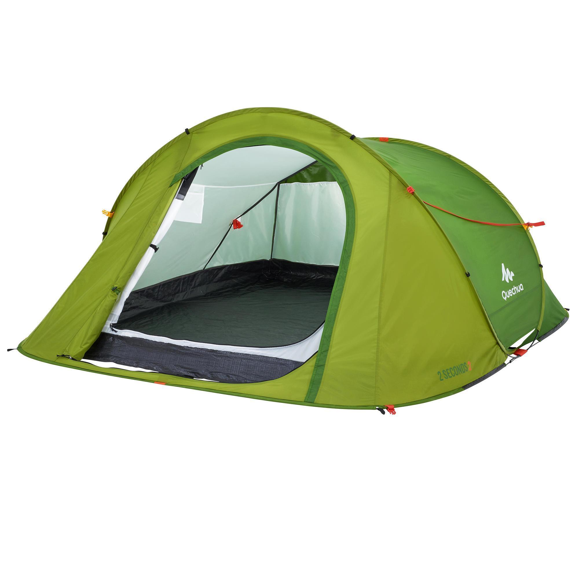tente de camping 2 seconds easy 3 personnes vert quechua. Black Bedroom Furniture Sets. Home Design Ideas