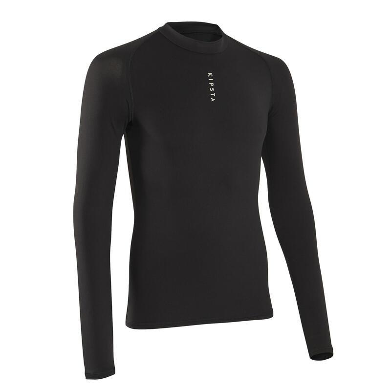 Men's Football Long-Sleeved Base Layer Top Keepdry 100 - Black