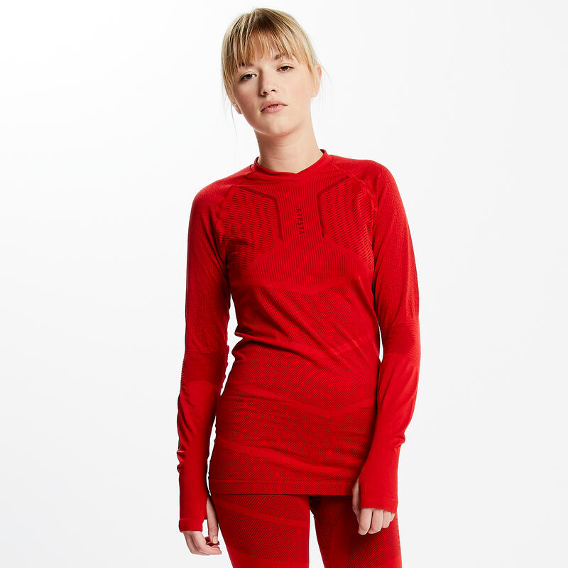 Adult Long-Sleeved Football Base Layer Top Keepdry 500 - Red