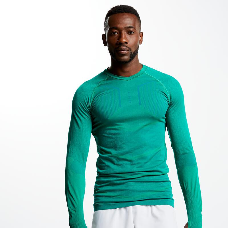 Men's Long-Sleeved Football Base Layer Top Keepdry 500 - Green