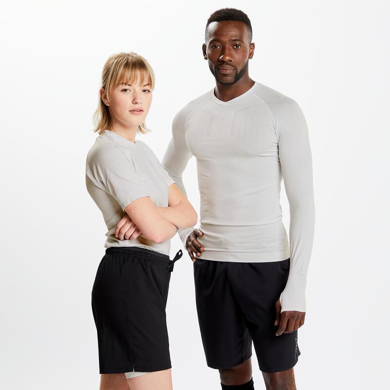 Men's Football Short-Sleeved Base Layer Top Keepdry 500 - White