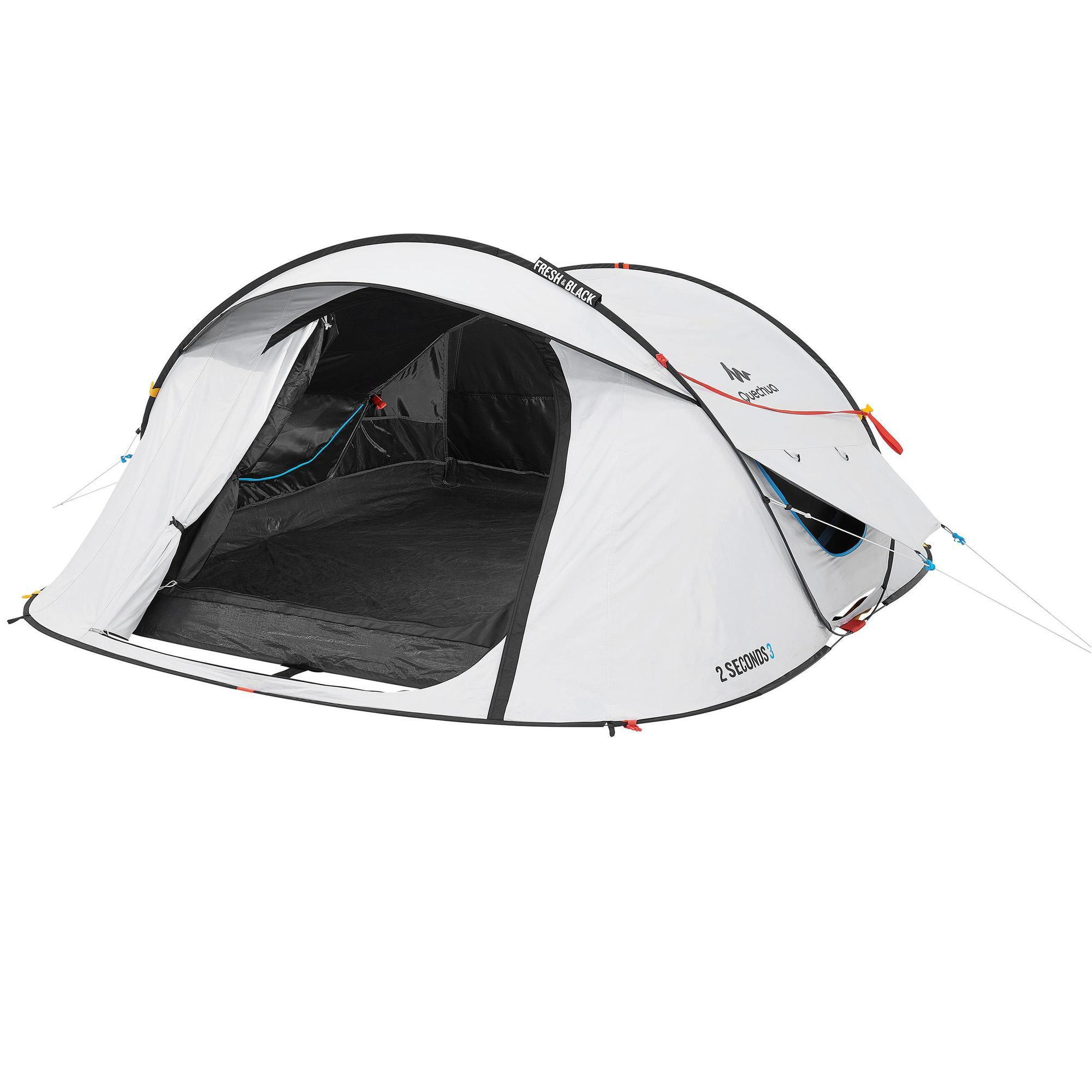 Quechua Pop up tent | 3 Persoons | Wit | 2 Seconds Fresh & Black