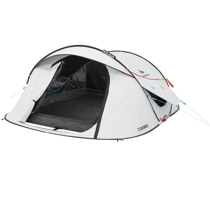 CORT, ADAPOST CAMPING ITINERANT DRUMEȚIE - Cort 2 Seconds 3 XL F&B 3 P QUECHUA