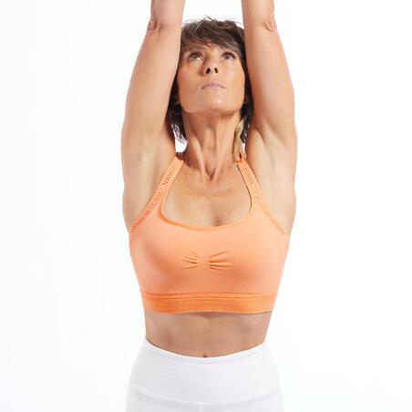 Brassiere Deportivo Comfort Top Yoga Relleno Extraible Coral