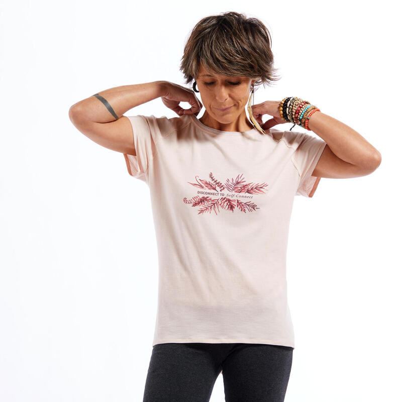 T-shirt voor zachte yoga dames roze