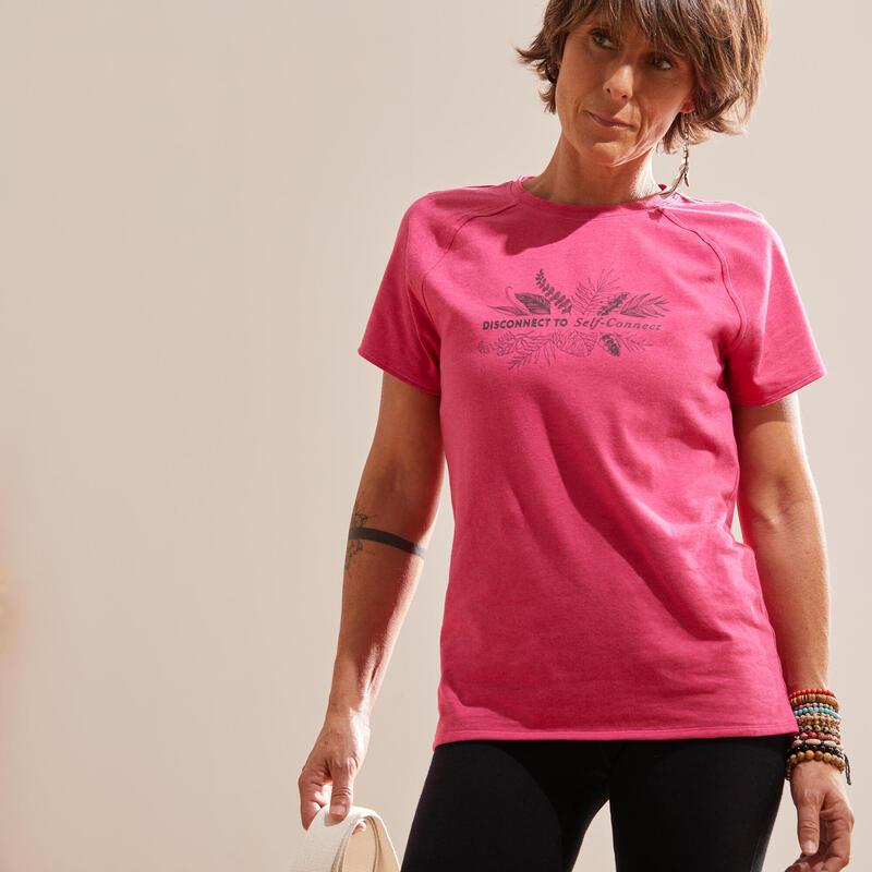 Camiseta Mujer Manga Corta Oversize Yoga Ecofriendly Rosa