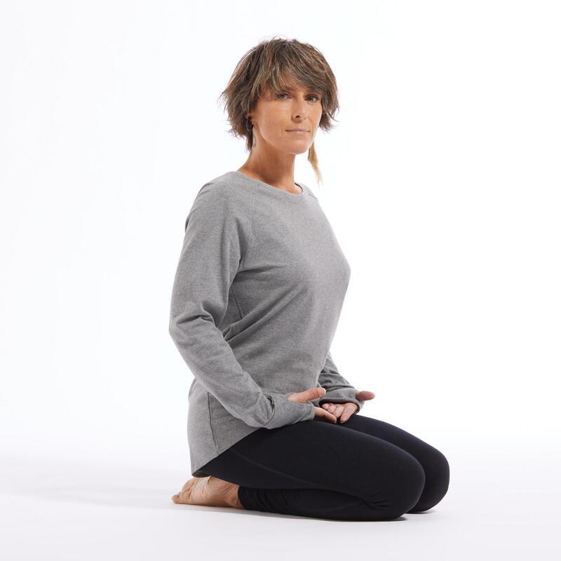 Shirt met lange mouwen voor zachte yoga dames biologisch katoen grijs