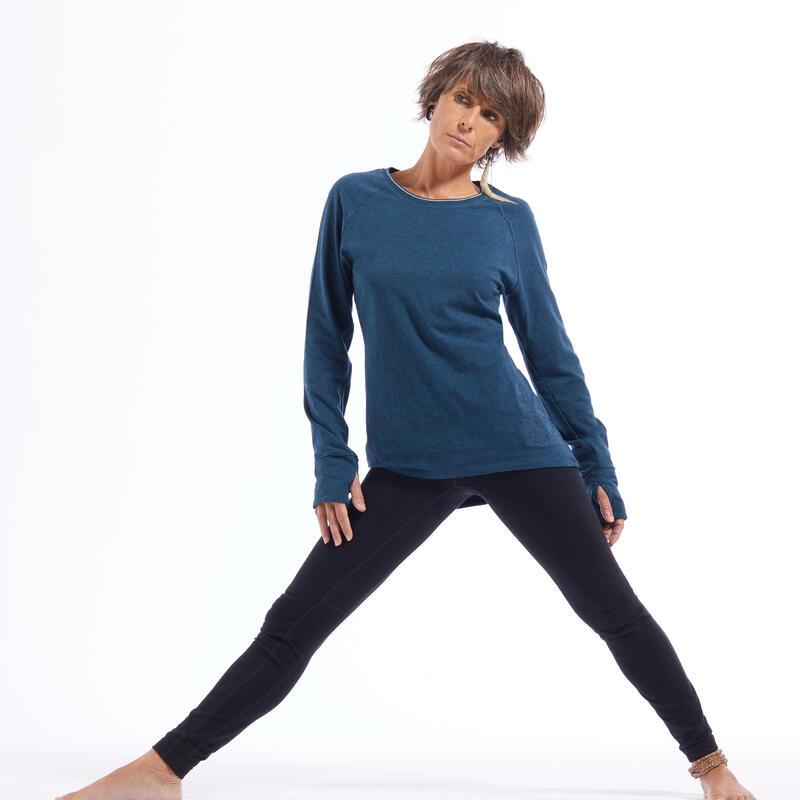 Shirt met lange mouwen voor zachte yoga dames biologisch katoen blauw