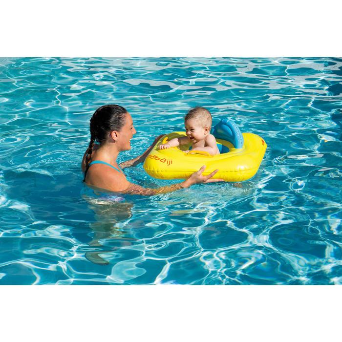Flotador con asiento para bebé amarillo con ventana y asas