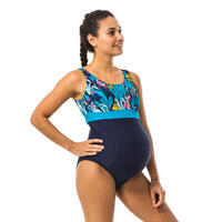 Maillot de bain de natation 1 pièce future maman Romane bleu Yuka
