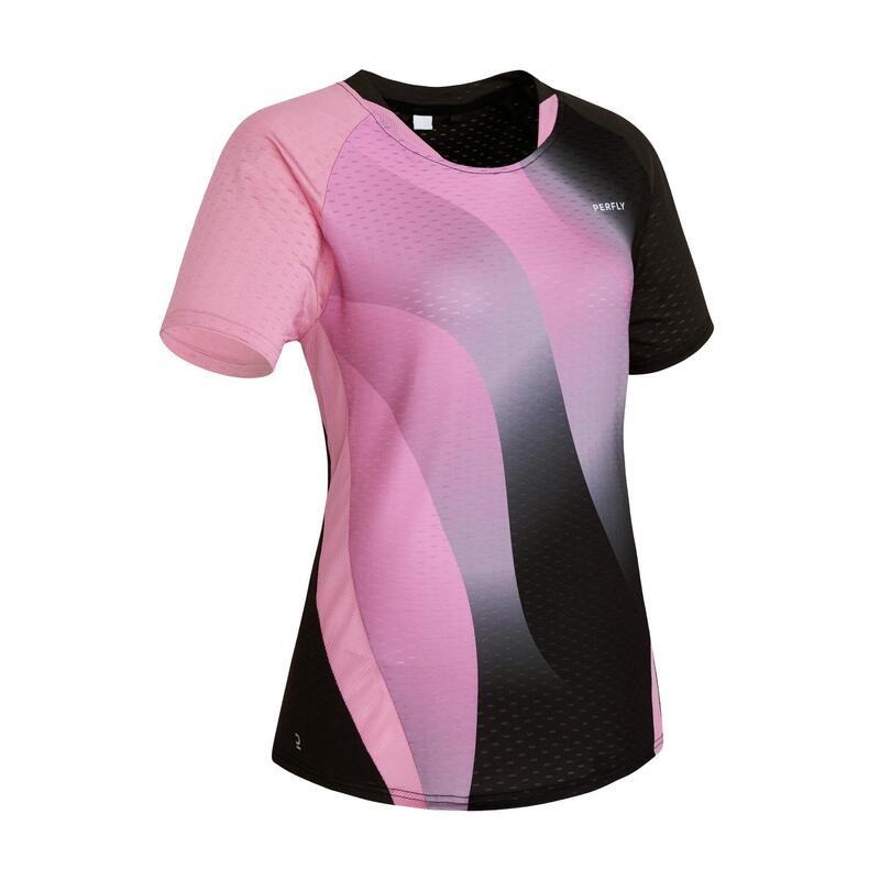 Dames T-shirt 560 paars/zwart
