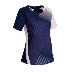 T-shirt de Badminton 560 Mulher Rosa Azul-marinho