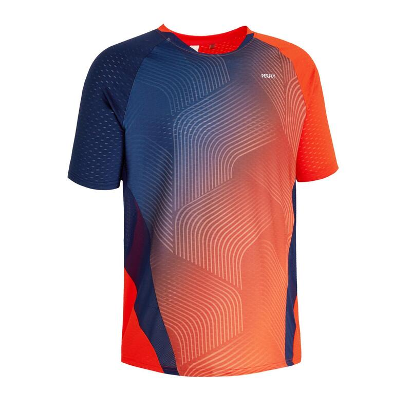 Badminton T-shirt voor heren 560 rood/marineblauw