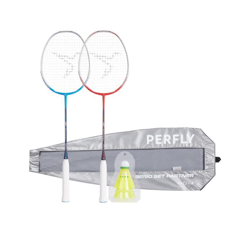 Raquette de Badminton Adulte BR190 Partner - Bleu/Rouge