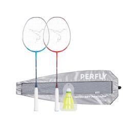 Badmintonschläger BR190 Set Partner Erwachsene rot/blau