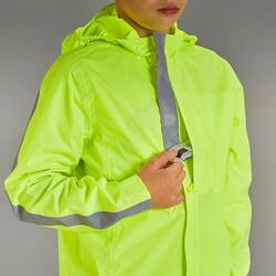 Fietsregenjas voor kinderen 500 geel met hoge zichtbaarheid