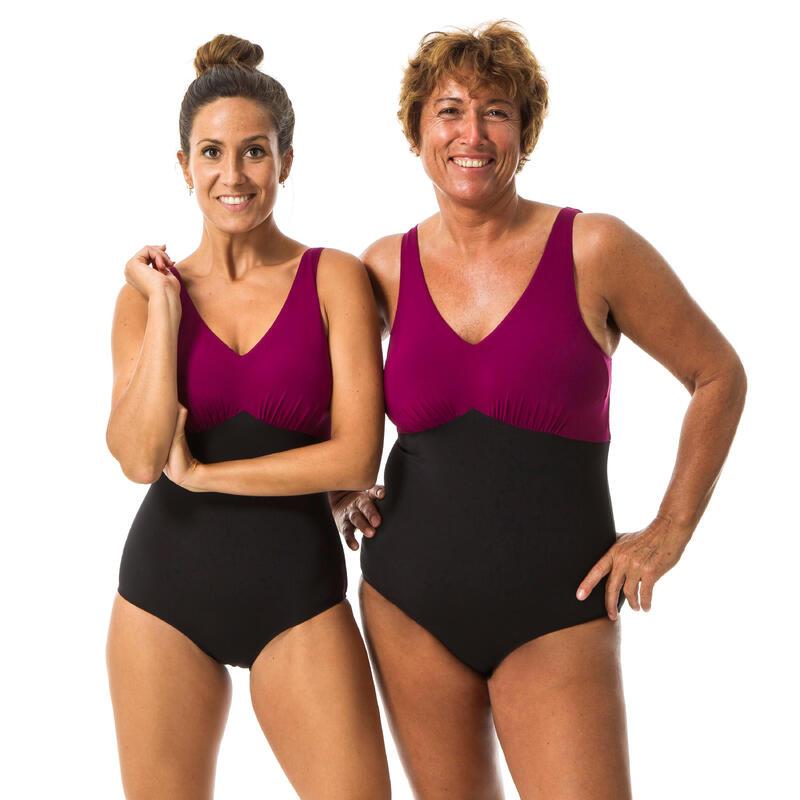 Bañador Tallas Grandes Escote V Aquagym Mujer Nabaiji Negro Burdeos Romi