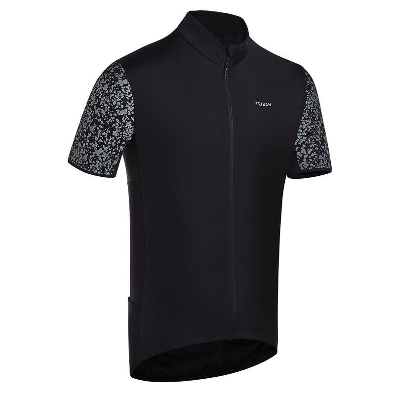Fietsshirt met korte mouwen voor heren racefietsen RC500 zwart terrazzo reflect