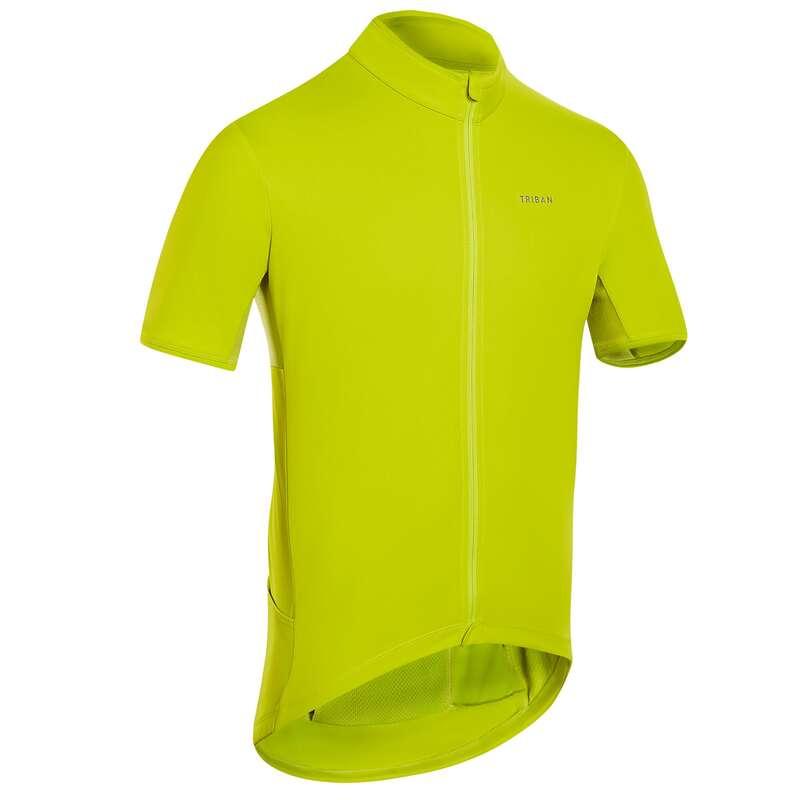 KLÄDER LANDSVÄGSCYKLING CYKELTURISM VARM Cykelsport - Tröja kort ärm RC500 gul TRIBAN - Cykeltröjor och T-shirts