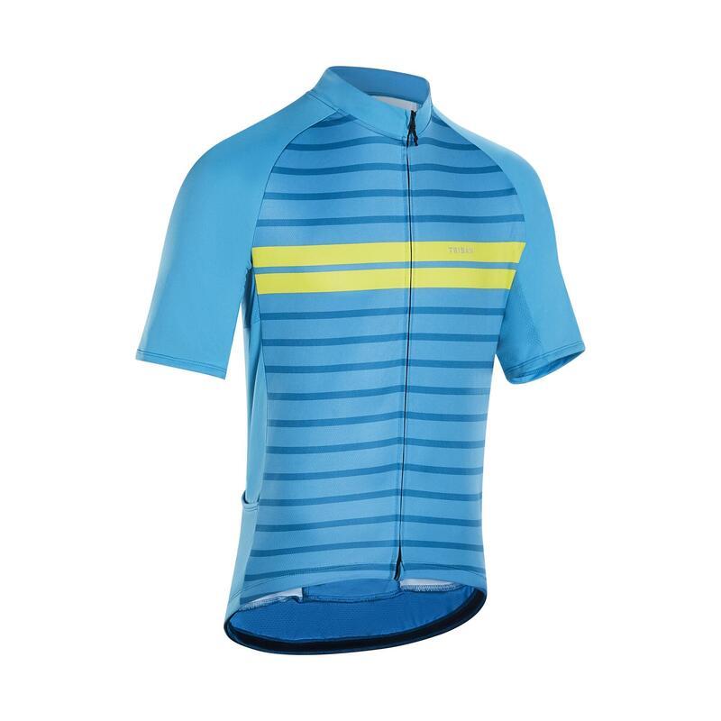 Fietsshirt met korte mouwen heren RC100 warm weer blauw/geel strepen